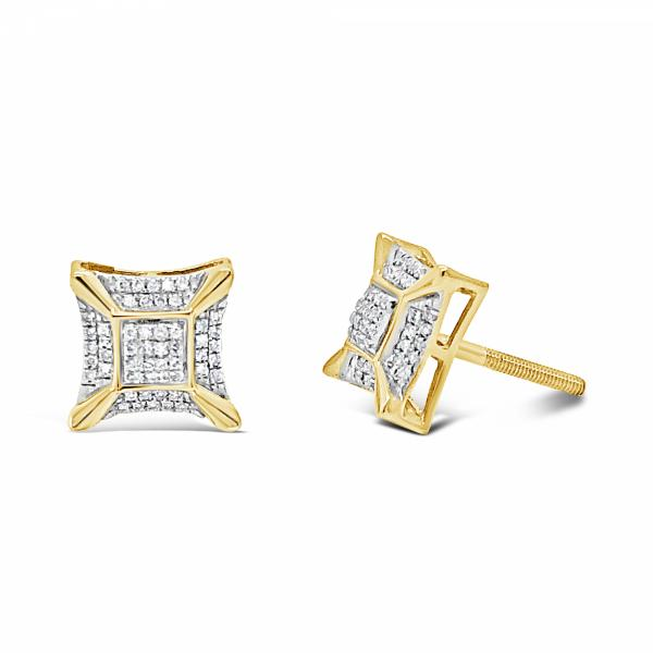 10K Yellow Gold .10ct Diamond Square Earrings w/ 3D Gold Details