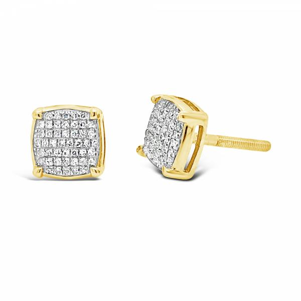 10K Yellow Gold .15ct Diamond Square Earrings