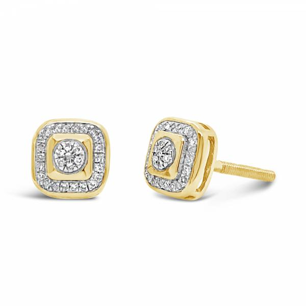 10K Yellow Gold .09ct Diamond Square Earrings