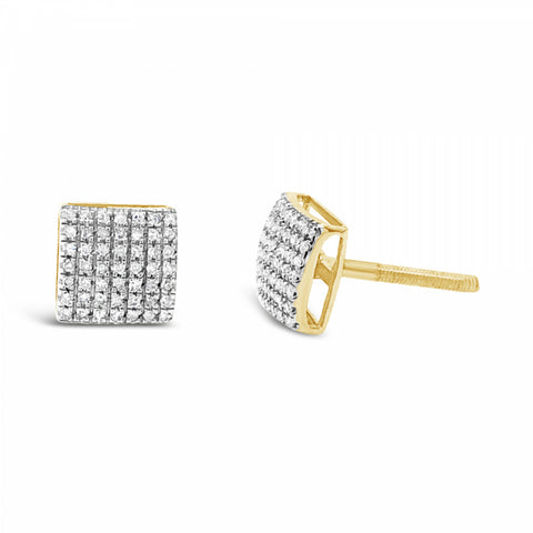 10K Yellow Gold .20ct Diamond Square Earrings