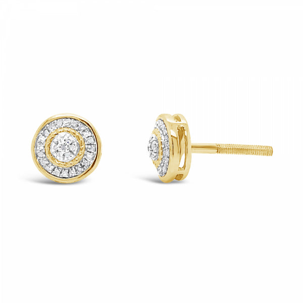 10K Yellow Gold .08ct Diamond Circle Earrings