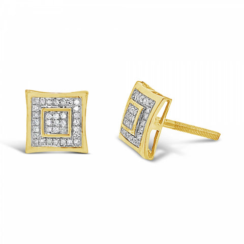 10K Yellow Gold .13ct Diamond Square Earrings