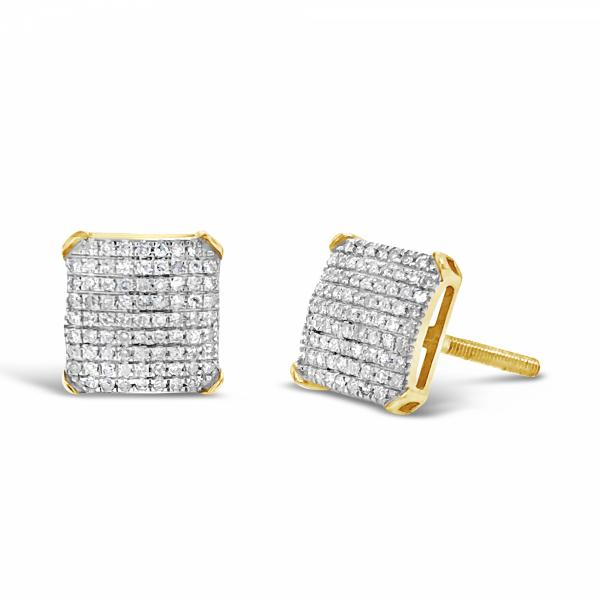 10K Yellow Gold .32ct Diamond Square Earrings