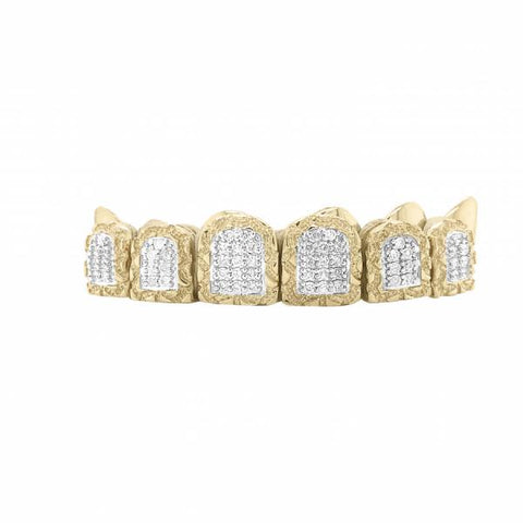 6 Piece 10K Gold Grill w/ Nugget Diamonds Blocks
