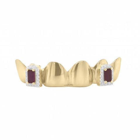 6 Piece 10K Gold Grill with Ruby & CZ Fangs