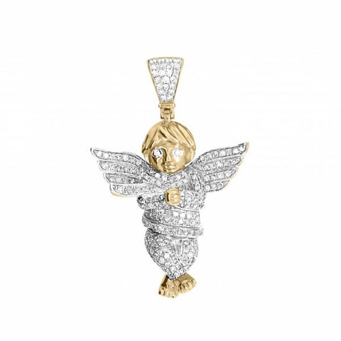 10k Yellow Gold 1.15ct Diamond Baby Angel Pendant