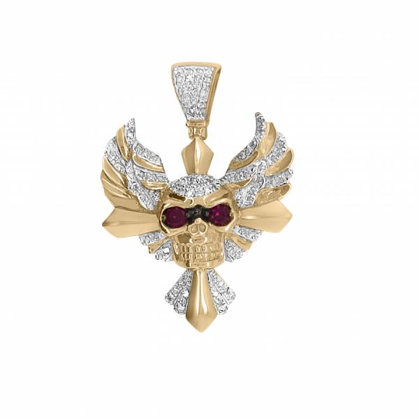 10k Yellow Gold .59ct Diamond Winged Skull w/ Rubies pendant