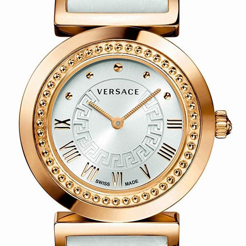 White & Gold Sunray Versace Vanity Watch w/ White Crocodile pattern Calf Strap w/ Medusa Studs