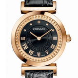 Black Sunray Versace Vanity Watch w/ Black Crocodile pattern Calf Strap w/ Medusa Studs