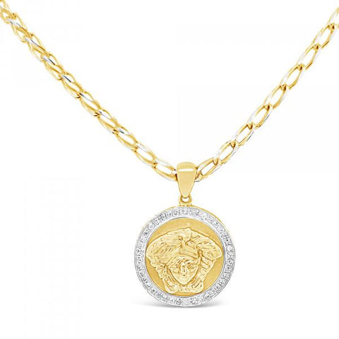 Diamond Designer Medusa Pendant .17 CTW Round Cut 10K Yellow Gold
