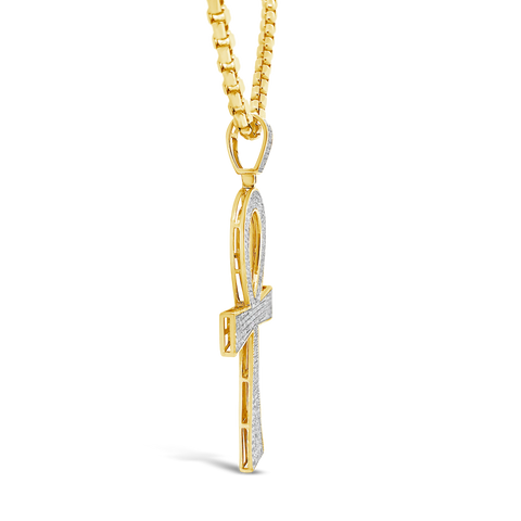 Diamond Cross Pendant .96 CTW Round Cut 10K Yellow Gold