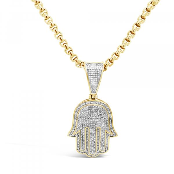 Diamond Hamsa Pendant .79 CTW Round Cut 10K Yellow Gold