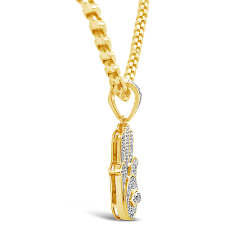 Diamond Hamsa Pendant .39 CTW Round Cut 10K Yellow Gold
