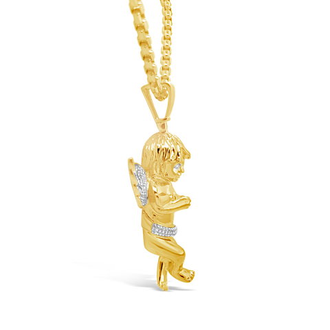 Diamond Angel Pendant .75 CTW Round Cut 10K Yellow Gold
