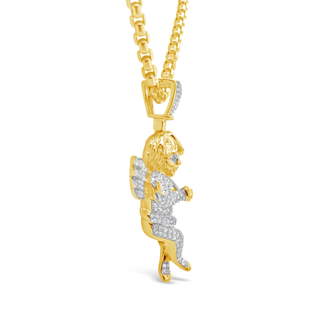 Diamond Angel Pendant 1.27 CTW Round Cut 10K Yellow Gold