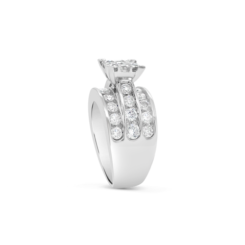 Diamond Ring 2.79 CTW Princess Cut w/ Round Cut 14K White Gold