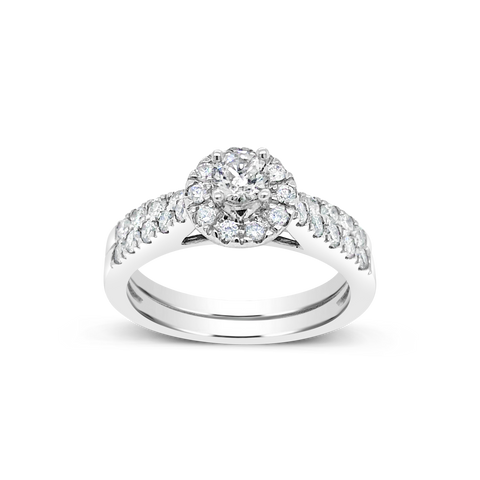 Diamond Halo Engagement Ring .94CT tw Round Cut 14K White Gold