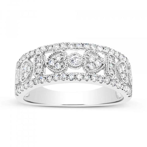 14K White Gold .44 CTW Round Cut Diamond Band