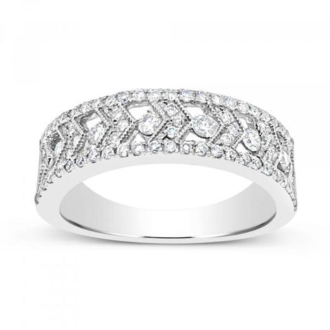 14K White Gold .55ct tw Round Cut Diamond Band