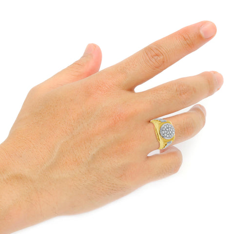 Two-Tone Diamond Ring .52 CTW Round Cut 10K Yellow Gold