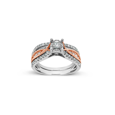 Diamond Halo Engagement Ring .71 CTW Round Cut 14K White & Rose Gold