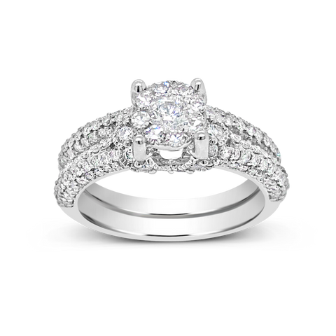 Diamond Halo Engagement Ring 1.19 CTW Round Cut 14K White Gold
