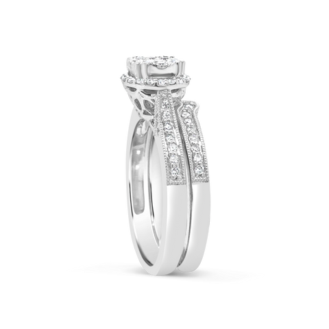 Diamond Halo Engagement Ring .62 CTW Round Cut 14K White Gold
