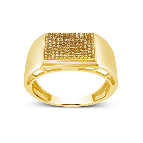 Yellow Canary Diamond Ring .24 CTW Round Cut 10K Yellow Gold