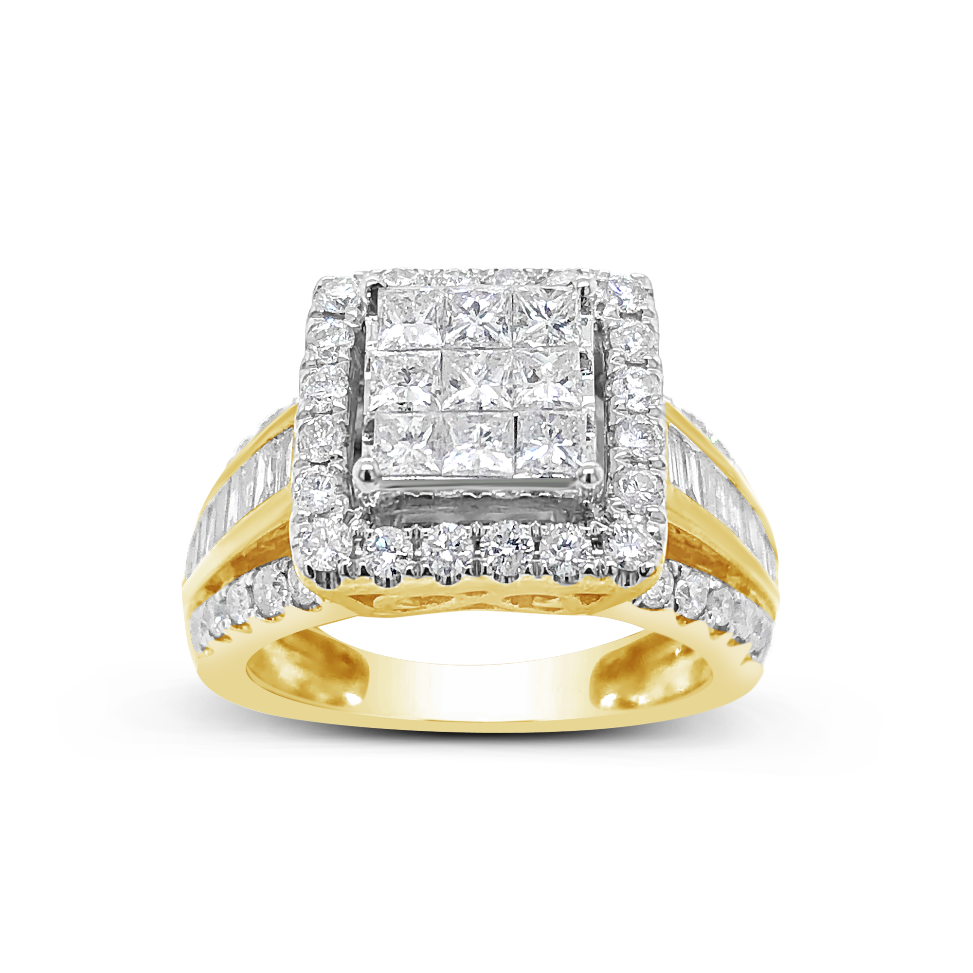 Diamond Halo Ring 1.80 CTW Princess Cut w/Baguettes & Round Cut 10K Yellow Gold