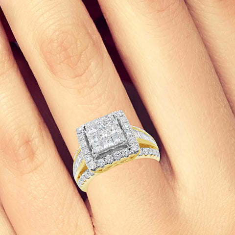 Diamond Halo Ring 1.80CT tw Princess Cut w/Baguettes & Round Cut 10K Yellow Gold