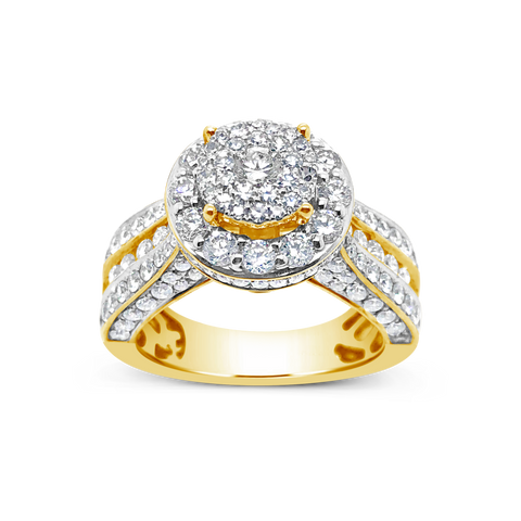 Diamond Halo Engagement Ring 2.30 CTW Round Cut 14K Yellow Gold