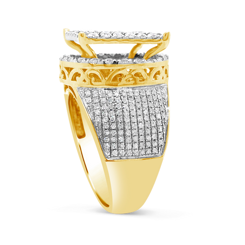 Diamond Halo Ring 1.88 CTW Round Cut 10K Yellow Gold