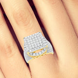 Diamond Halo Ring 1.88CT tw Round Cut 10K Yellow Gold