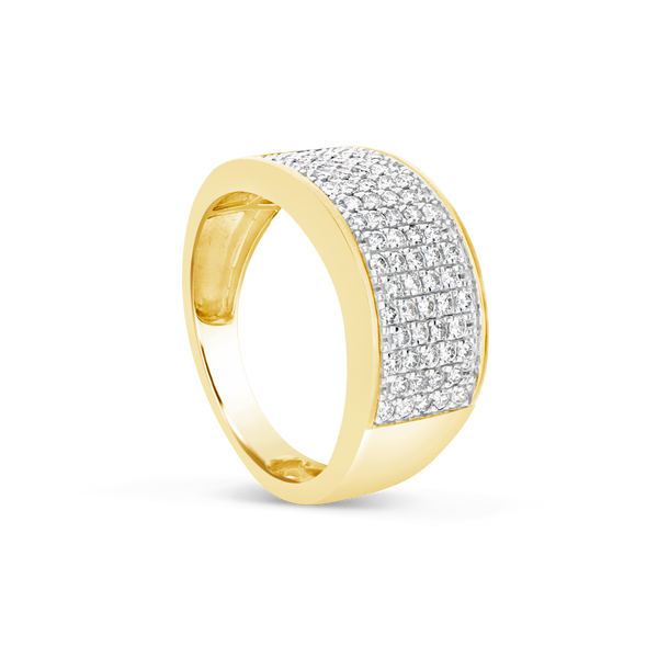 Mens Diamond Ring .84CT tw Round Cut 10K Yellow Gold