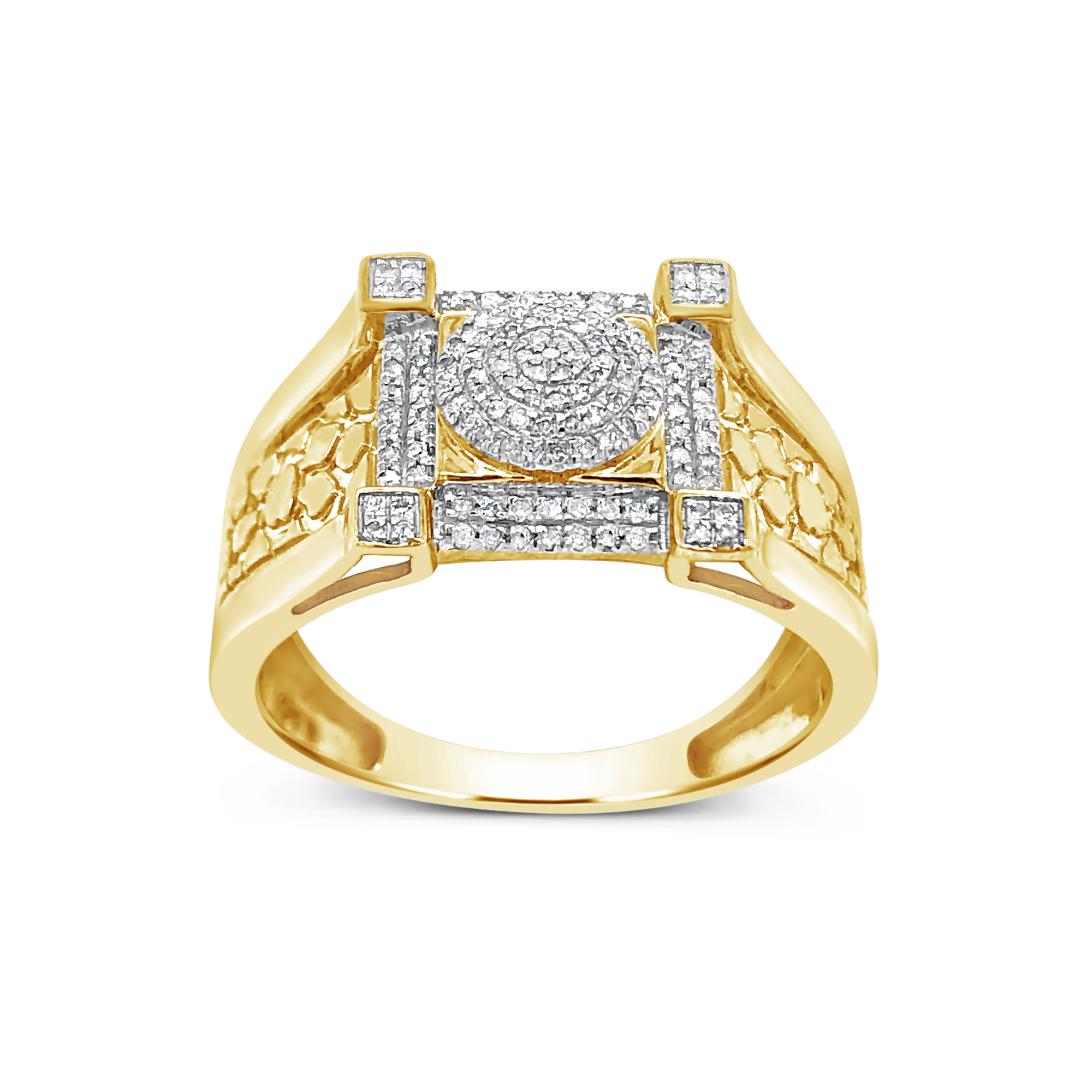 Diamond Nugget Ring .24 CTW Round Cut 10K Yellow Gold