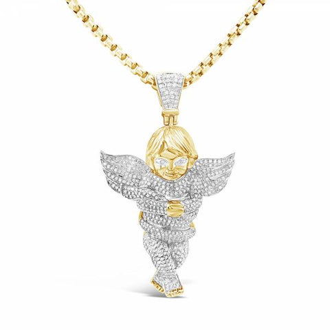 Diamond Angel Pendant 2.25CT tw Round Cut 10K Yellow Gold