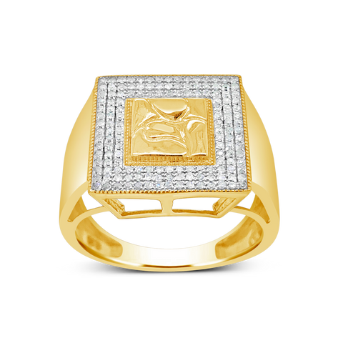 Diamond Nugget Ring .35 CTW Round Cut 10K Yellow Gold