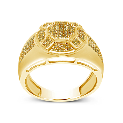 Yellow Canary Diamond Ring .36 CTW Round Cut 10K Yellow Gold