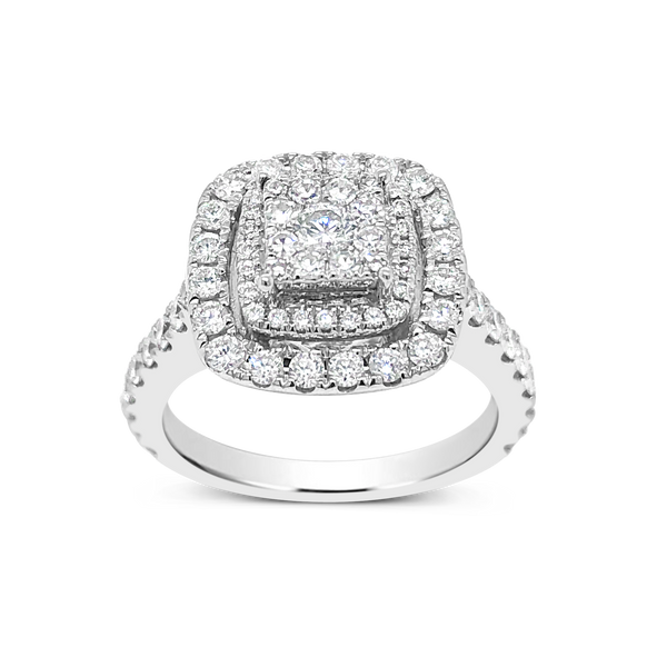 Diamond Halo Engagement Ring 1.34 CTW Round Cut 14K White Gold