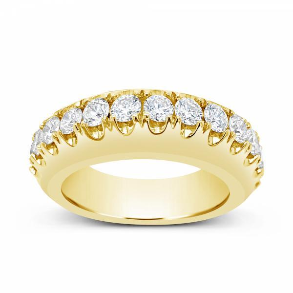 Diamond Ring 1.85 CTW Round Cut 10K Yellow Gold