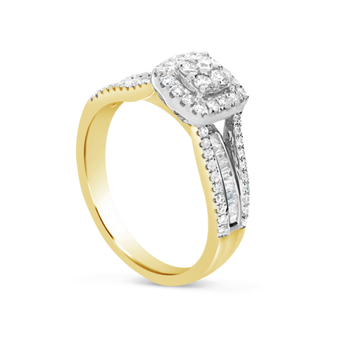 Diamond Halo Engagement Ring .50 CTW Round w/ Baguette Cut 10K Yellow Gold