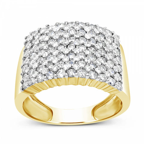 Diamond Ring 2.63 CT tw Round Cut 10K Yellow Gold