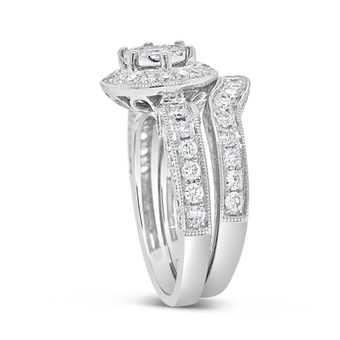 Diamond Halo Engagement Ring 1.60 CTW Round Cut 14K White Gold