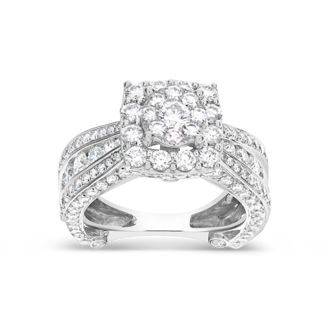 Diamond Halo Engagement Ring 3.60 CTW Round Cut 14K White Gold