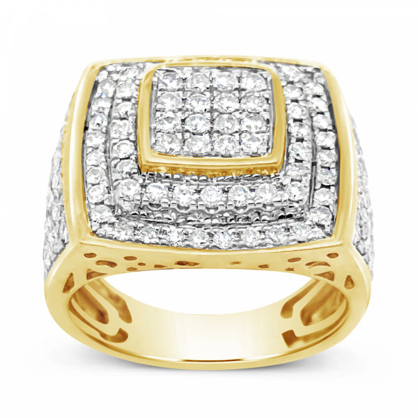 Diamond Ring 2.12 CTW Round Cut 10K Yellow Gold
