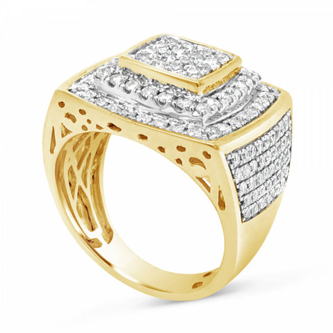 Diamond Ring 2.12 CT tw Round Cut 10K Yellow Gold