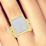Diamond Ring 3.50CT tw Princess Cut w/ Baguettes & Round Cut 14K Yellow Gold