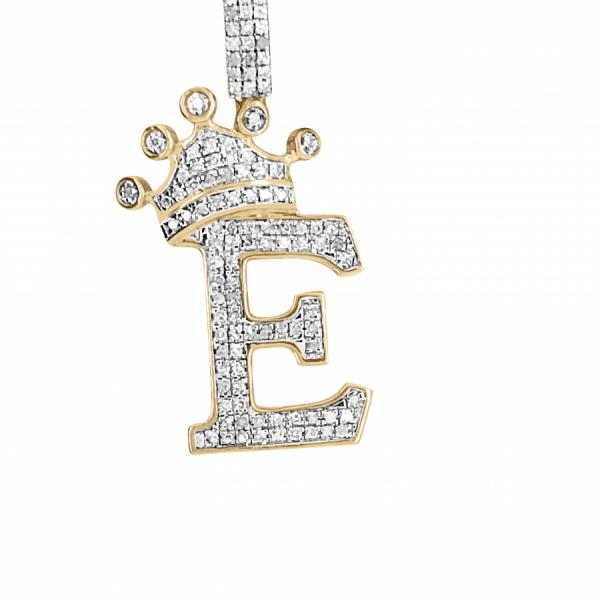 "10k yellow gold .38ct Diamond ""E"" Pendant w/ crown"