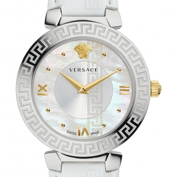 35mm White Daphnis Versace Watch w/ Mother of Pearl Face