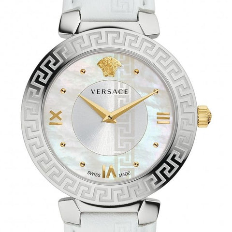 White Daphnis Versace Watch w/ Mother of Pearl Face